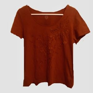 Chico's Rust Colored Tee with floral embellishment